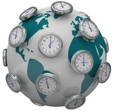 International Time Zones Clocks Around World Global Travel. Many clocks around the world to illustrate international time zones and travel changes in hours vector illustration