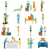 International tourism travelling flat icons set Stock Images