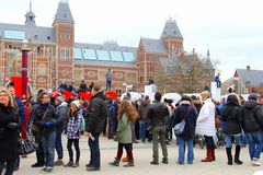 Tourists at the Rijksmuseum, Amsterdam, Netherlands Royalty Free Stock Images