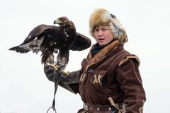 International tournament of hunting with hunting birds. International tournament `Kansonar` of masters of hunting with hunting birds, dedicated to the Stock Image