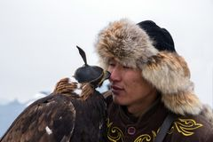 International tournament `Kansonar` of masters of hunting with hunting birds, dedicated to the Independence Day of the Republic of. Kazakhstan. December 9, 2017 Stock Images