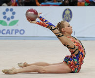 International Tournament in Rhythmic Gymnastics. An unidentified participant in action at International Tournament in Rhythmic Gymnastics Grand Prix Cup Royalty Free Stock Photos