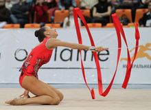 International Tournament in Rhythmic Gymnastics. An unidentified participant in action at International Tournament in Rhythmic Gymnastics Grand Prix Cup Royalty Free Stock Images