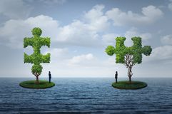 International Trade Challenge. And global commerce puzzle as two people on seperate islands  with trees shaped as a jigsaw piesces with 3D illustration elements Stock Images
