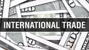 International Trade Closeup Concept. American Dollars Cash Money,3D rendering. International Trade at Dollar Banknote. Financial U. SA money banknote Commercial stock illustration