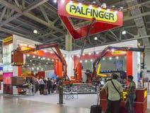 International Trade Fair of Construction Equipment and Technologies. MOSCOW-JUNE 5, 2013: Cranes manipulators Austrian company PALFINGER at the International Royalty Free Stock Photos