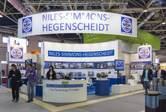 International Trade Fair METALLOOBRABOTKA. MOSCOW-MAY 30, 2013: Metalworking machines German company NILES-SIMMONS-HEGENSCHEIDT at the International Trade Fair Royalty Free Stock Photography