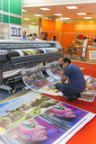 International Trade Fair REKLAMA. MOSCOW-SEPTEMBER 24, 2015: Large format printers of the Chinese company INKWIN at the International Trade Fair REKLAMA Stock Photography