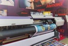 International Trade Fair REKLAMA. MOSCOW-SEPTEMBER 24, 2015: Large format printers Japanese company Mimaki at the International Trade Fair REKLAMA Stock Photos