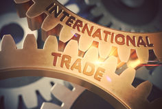 International Trade on Golden Gears. 3D Illustration. Royalty Free Stock Images