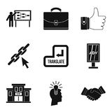 International trade icons set, simple style. International trade icons set. Simple set of 9 international trade vector icons for web isolated on white background Stock Photography