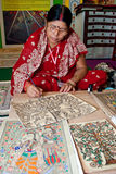 International Trade Malaysia. KUALA LUMPUR-NOV 23: Bibha Daz, a traditional Madhubani Painter does a demostration at the International Trade Malaysia (INTRADE stock illustration