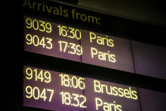 International train arrivals board Royalty Free Stock Photos