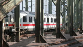 International train on Cologne railway bridge stock footage
