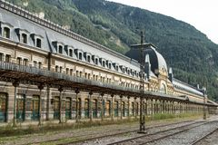 International train station abandoned in Canfranc, Spain royalty free stock photography