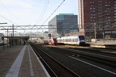International train Thalys between Amsterdam and Paris passes station of Leiden. This is a bypass due to problems on the internat. Ional high speed track stock photo