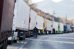 International transport trucks are blocked  from the border Royalty Free Stock Images