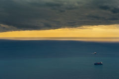 International transport. Two ships sailing in the ocean to reach the ports for the delivery of goods Royalty Free Stock Photography