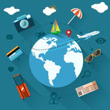 International travel by airplane Stock Images