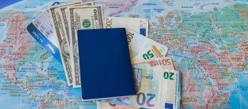 International travel concep: Passport, tickets, money on the map