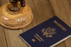 International travel. Passport book and a globe on a wooden table, indicating international travel royalty free stock photo