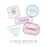 International travel visa stamps. Stock Photos