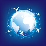 International traveling by airplane vector illustration
