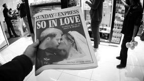 International Uk Newspaper about Royal Wedding. London, Uk - May 20, 2018: POV The Sunday Express front cover newspaper British press kiosk featuring portraits stock video