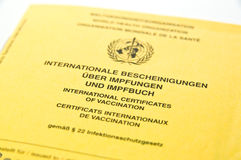 International vaccination record Stock Image