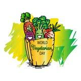 International vegetarian day. Cartoon style Royalty Free Stock Image