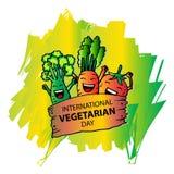 International vegetarian day. Cartoon style Stock Images