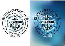 International voyager marine heraldic banner Stock Photos