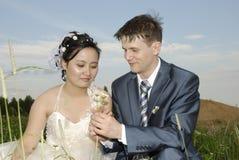 International wedding. Of Chinese woman  and European man Stock Photo