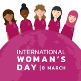 International Woman day with womans group Wear pink shirt and ribbon and pink earth world banner vector design Royalty Free Stock Image
