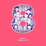 International woman`s day. Greeting card international woman`s day, poster or banner design, 8 march stock illustration