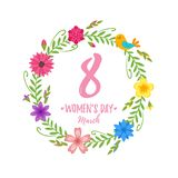 International woman`s day greeting card. Vector cartoon style 8 of March International woman`s day greeting card with floral wreath on white background stock illustration
