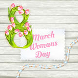 International womans day. EPS 10. 8 march International womans day, from tulips on wooden boards. EPS 10 vector file included stock illustration