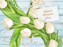 International womans day. EPS 10. 8 march International womans day, from tulips on wooden boards. EPS 10 vector file included royalty free illustration