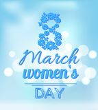 International Womans Day Holiday on Eight of March. International womans day poster, holiday celebrated on eight of March, flowers in shape of 8 vector Stock Image