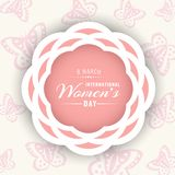 International women day banner with white pink flower circle frame on butterfly background vector design stock illustration