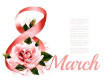 International Women Day celebration. Holiday beautiful pink flowers background. Vector Stock Image