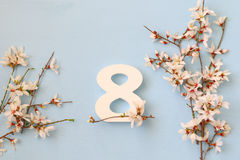 International women day concept. Cherry tree and date Stock Photo