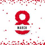 International women day. March 8 greeting  postcard. Eight is made of hearts. Website banner concept. Vector illustration.  Royalty Free Stock Photos