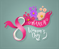 International Women Day 8 march. Ribbon flowers modern style with lettering. Vector illustration Stock Illustration