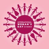 International women day with pink purple womans holding hands to circle banner vector design Stock Photo