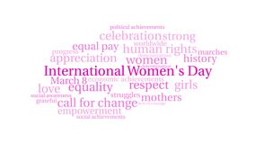 International Women`s Day animated word cloud stock illustration