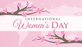 International Women`s Day Background with Cherry Blossom. Pink International Women`s Day Background with Cherry Blossom Flowers royalty free illustration