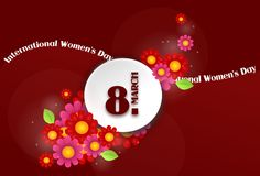 International Women's Day background. Red background with white circle decorated with flowers and text Stock Illustration
