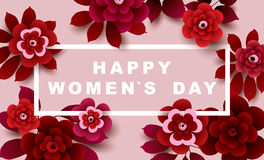International Women`s Day Card with flowers. Stock Images