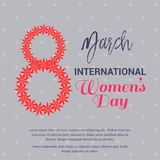 International women's day card with grey pattern background. For web design and application interface, also useful for infographics. Vector illustration Vector Illustration